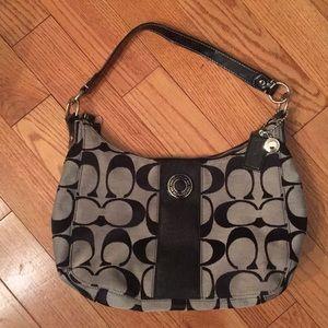 Coach black C fabric shoulder bag